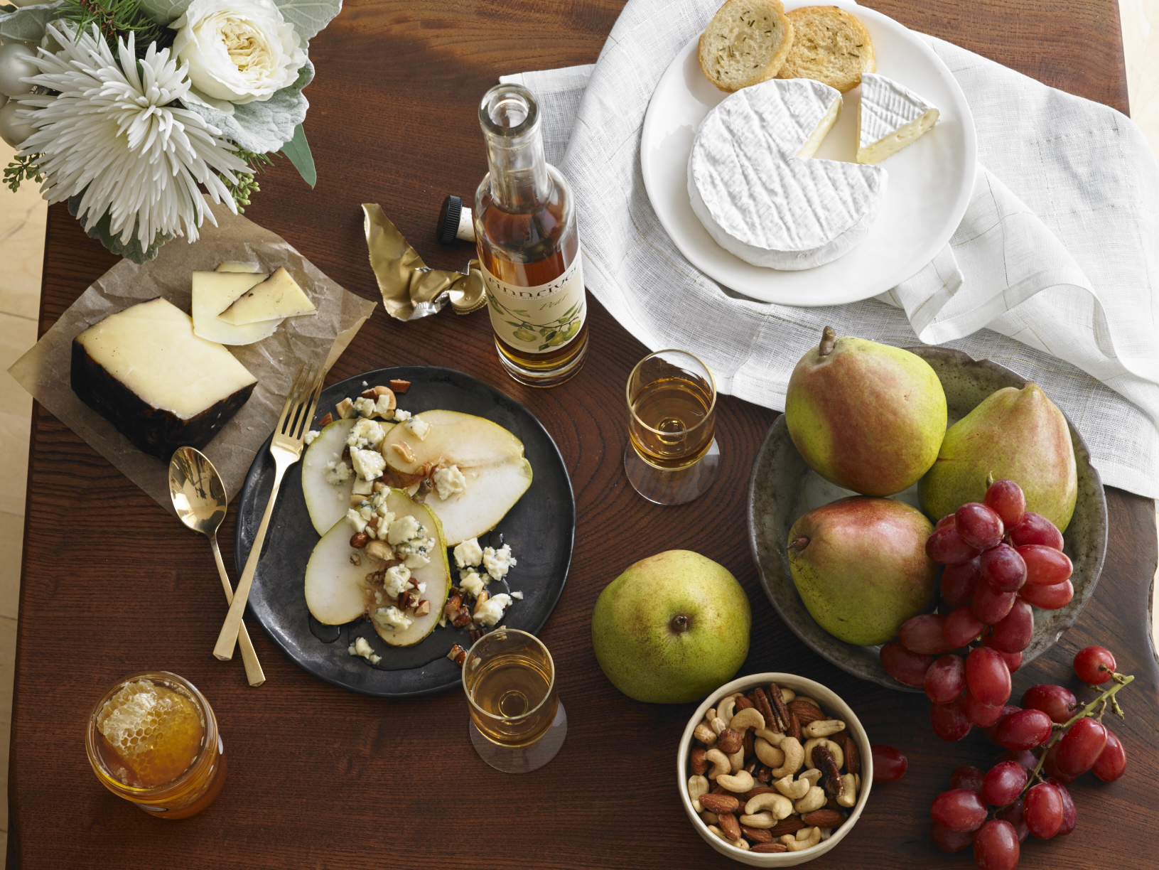 Holiday Pears with Blue Cheese, Nuts, and Honey